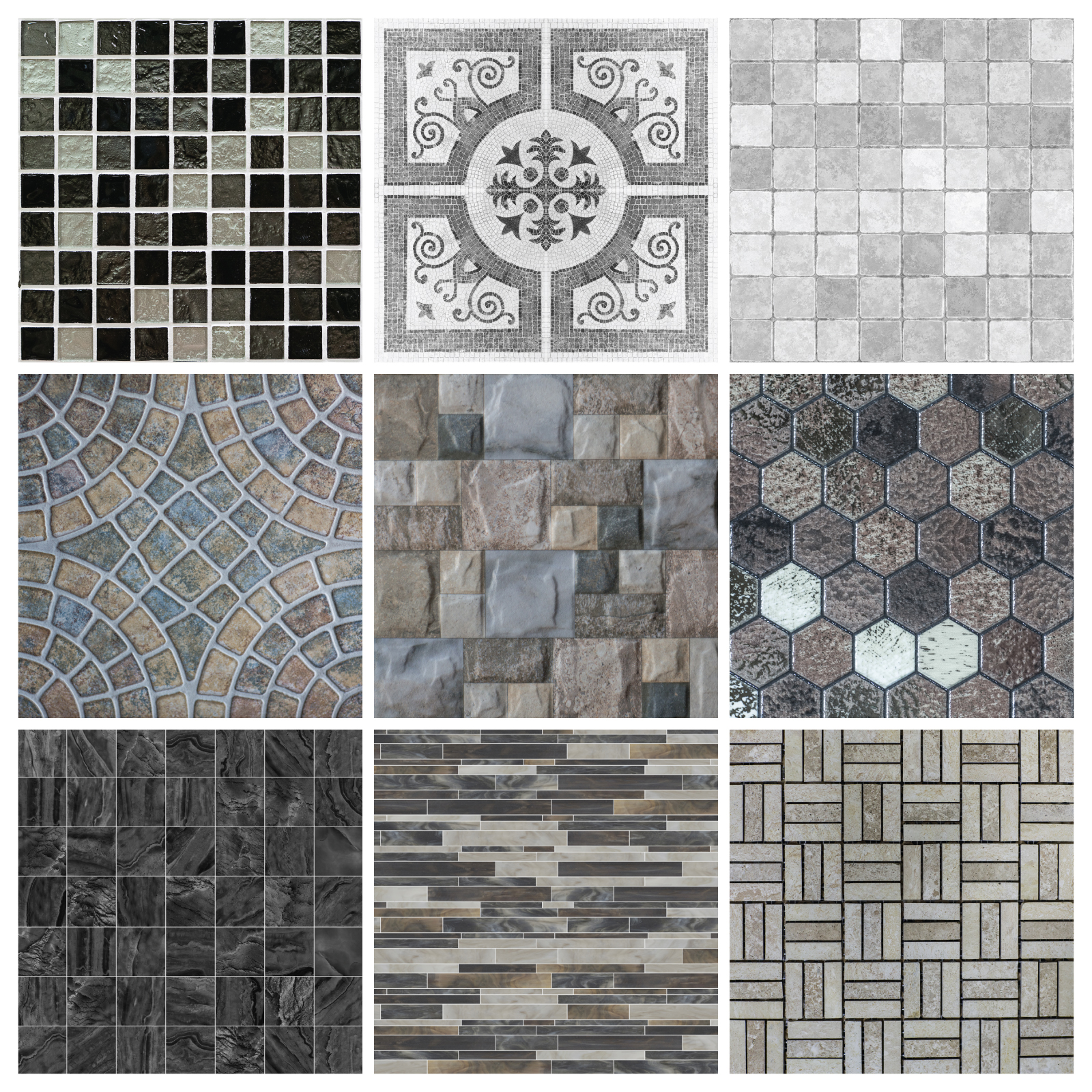 Mosaic Black Grey Marble Effect Ms2 Wall Genie