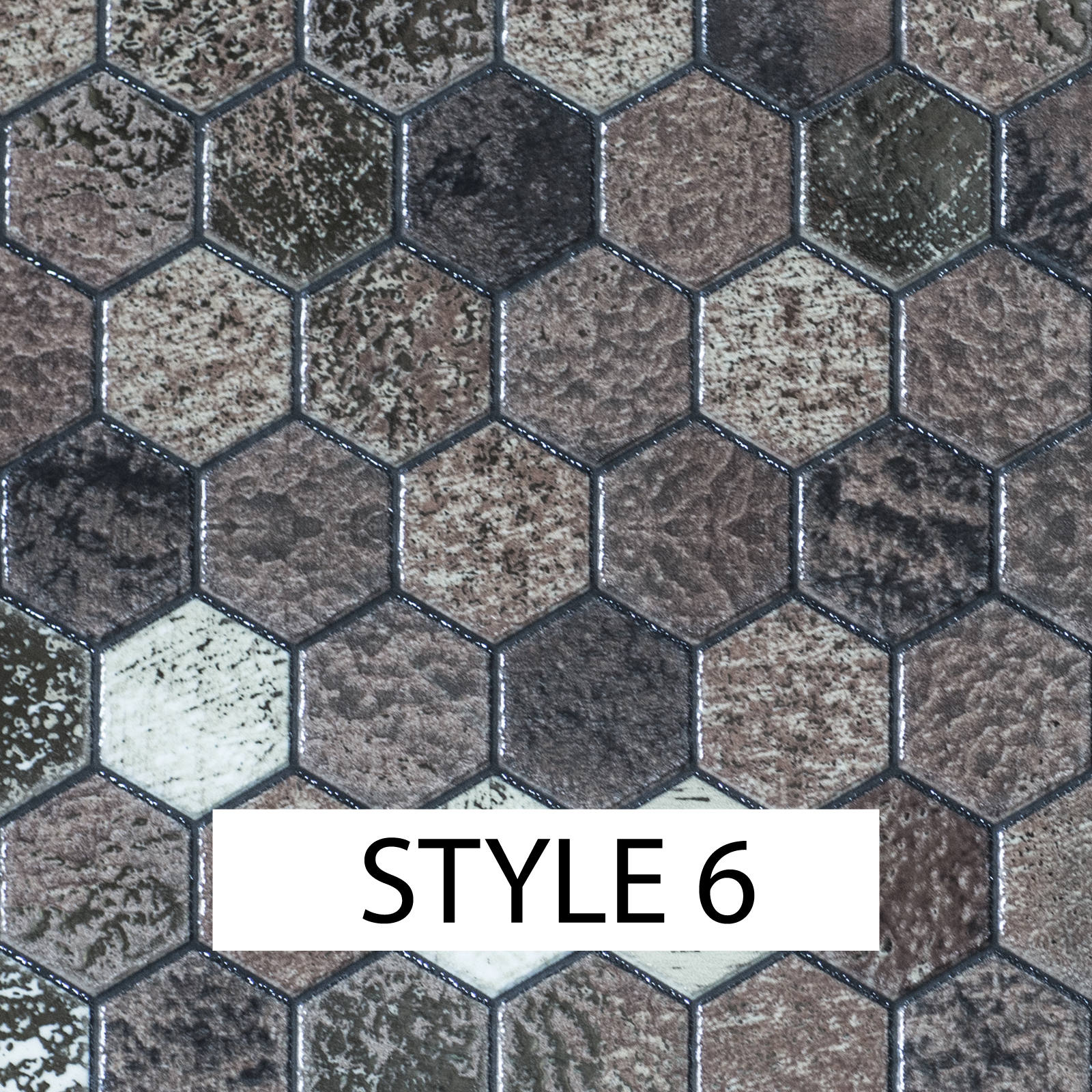 Mosaic Tile Stickers Transfers Kitchen Black Grey Brown Marble Effect MS2